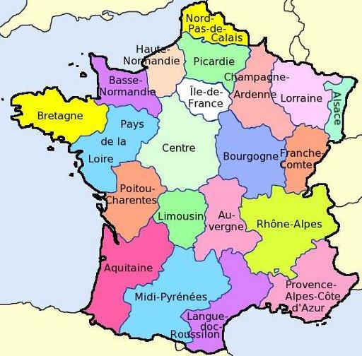 Kaart frankrijk provincies